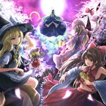 album_cover apron armpits ascot bangs bare_shoulders black_dress blonde_hair blue_bow blue_cape blue_capelet blue_headwear blue_shirt blue_skirt bow bowtie braid broom broom_riding brown_eyes brown_hair buttons cape capelet cherry_blossoms collared_shirt commentary_request cover crescent_moon crystal detached_sleeves dress fang flandre_scarlet frilled_bow frilled_dress frilled_shirt_collar frilled_skirt frills gap gensoukyou ghost_tail green_hair hair_bow hair_tubes hakurei_reimu half_updo hat hat_bow hat_ribbon japanese_clothes juliet_sleeves kirisame_marisa long_hair long_sleeves medium_hair miko mima mini-hakkero mob_cap moon nontraditional_miko open_mouth petticoat puffy_short_sleeves puffy_sleeves purple_bow purple_dress purple_moon red_bow red_shirt red_skirt red_vest ribbon ribbon-trimmed_sleeves ribbon_trim shirt short_hair short_sleeves sidelocks skirt skirt_set sleeveless sleeveless_shirt staff tabard touhou touhou_(pc-98) vest waist_apron white_bow white_dress white_ribbon white_shirt wide_sleeves wings witch_hat wizard_hat yakumo_yukari yellow_bow yellow_eyes yellow_neckwear yotuba_mokoh_(benzenex) zombie
