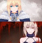 2girls 333_(pixiv8601259) absurdres aqua_eyes artoria_pendragon_(all) blonde_hair blood blood_splatter breastplate breasts choker cleavage collarbone dual_persona eyebrows_visible_through_hair fate/stay_night fate_(series) fur_trim hair_between_eyes halterneck highres looking_at_viewer multiple_girls parted_lips portrait saber saber_alter sidelocks silver_hair sleeveless small_breasts smile yellow_eyes