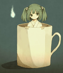 1girl cup green_eyes green_hair hair_bobbles hair_ornament hitodama in_container in_cup kisume short_hair solo touhou twintails
