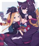 2girls abigail_williams_(fate/grand_order) age_difference alternate_hairstyle animal_ear_fluff animal_ears bangs bell bell_collar black_bow black_dress black_hair blonde_hair blush bow braid breasts cat_ears cat_girl child cleavage collar commentary_request dress fate/grand_order fate_(series) flower fur_trim green_eyes hair_between_eyes hair_bow hair_ornament hair_ribbon hairband japanese_clothes katsushika_hokusai_(fate/grand_order) kimono long_hair long_sleeves looking_at_viewer multiple_girls multiple_hair_bows off_shoulder parted_bangs puffy_sleeves red_bow ribbon short_hair short_sleeves sleeves_past_fingers sleeves_past_wrists thighhighs totatokeke twin_braids wide_sleeves