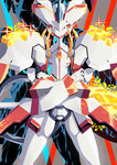 absurdres crossed_arms dark_persona darling_in_the_franxx glowing gunbuster_pose highres light_particles looking_at_viewer mecha no_humans potechi_(german_potato) serious solo sparkle standing strelizia