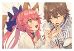 1boy 1girl animal_ears bangs blouse blue_bow blush bow bowl brown_hair caster_(fate/extra) closed_eyes fang fate/extra fate_(series) feeding fox_ears fox_girl fox_tail hair_between_eyes hair_bow hino_hinako holding holding_bowl holding_chopsticks kishinami_hakuno_(male) long_hair open_mouth pink_hair rice rice_bowl robe simple_background smile sparkle tail tan_background twintails white_blouse white_border yellow_eyes