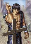 1boy >:( abs bandaged_arm bandages black_eyes black_hair blue_jacket blue_pants blurry blurry_background cat closed_mouth commentary_request cross dated eyebrows frown hokuto_no_ken jacket kenshirou looking_down male_focus matataku meme muscle open_clothes open_jacket pants parody salt_bae_(meme) scar seed shirtless signature sleeveless_jacket sprinkling standing surprised_cat_(matataku) tombstone torn_jacket v-shaped_eyebrows vest wristband