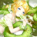1girl animal_hair_ornament bare_shoulders bikini bikini_under_clothes blonde_hair blue_eyes blurry blush bow bracelet braid collarbone depth_of_field dew_drop dripping eating flat_chest food food_print french_braid frilled_bikini frills fruit giant_food hair_bow hair_ornament hairclip highres ice_cream jewelry kagamine_rin kiwi_slice kiwifruit leaf looking_at_viewer lying midriff on_side open_clothes open_shorts oyamada_gamata parted_lips popsicle scrunchie see-through shirt short_hair short_ponytail shorts side_braid solo swimsuit swimwear tareme vocaloid water_drop wet wet_clothes wet_shirt wrist_scrunchie