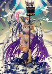 1girl bandages black_hair commentary dark_skin fate/grand_order fate_(series) highres holster jewelry lantern long_hair navel pixiv_fate/grand_order_contest_2 revealing_clothes scheherazade_(fate/grand_order) scroll staff star tai_kusu thigh_holster thumb_ring very_long_hair