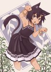 1girl animal_ears armpits bracelet brown_dress brown_hair cat_ears character_request commentary_request copyright_request dark_skin dress fang feet_out_of_frame grey_eyes hair_ornament hairclip highres jewelry kaginoni leaning_forward open_mouth paw_pose plant sleeveless sleeveless_dress solo spaghetti_strap