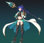 1girl :d armor armored_boots bangs black_background black_gloves blue_hair boots breastplate breasts coat collarbone commentary_request corsetman crop_top floating_hair full_body gauntlets gloves gradient gradient_background grin groin hair_ornament hand_on_hip hand_up high_heels highres holding holding_spear holding_weapon legs_apart long_coat long_hair long_sleeves love_live! love_live!_sunshine!! matsuura_kanan midriff navel open_clothes open_coat open_mouth over_shoulder parted_bangs polearm ponytail purple_eyes short_shorts shorts shoulder_armor sidelocks sleeves_folded_up small_breasts smile solo spear standing stomach tareme teeth thigh_boots thighhighs thighs trident weapon weapon_over_shoulder white_coat white_shorts wing_collar