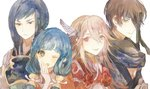 2boys 2girls armor fire_emblem fire_emblem_if gurei_(fire_emblem_if) hair_ornament hisame_(fire_emblem_if) japanese_clothes light_smile looking_at_viewer matoi_(fire_emblem_if) mitama_(fire_emblem_if) multiple_boys multiple_girls shourou_kanna simple_background smile white_background