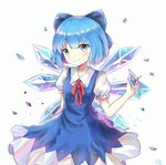 1girl absurdres blue_dress blue_eyes blue_hair cirno crystal dress fairy fairy_wings highres holding_object liuli88 looking_at_viewer puffy_short_sleeves puffy_sleeves short_hair short_sleeves simple_background smile touhou white_background wings