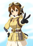 1girl bomber_jacket brown_eyes brown_hair cosplay diesel-turbo fam_fan_fan fam_fan_fan_(cosplay) flight_goggles gloves goggles goggles_on_head hair_ornament hairclip hirasawa_yui jacket k-on! last_exile last_exile:_gin'yoku_no_fam seiyuu_connection short_hair solo toyosaki_aki v
