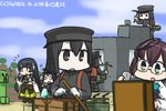 !! 3girls :d :o akitsu_maru_(kantai_collection) clone cloud cloudy_sky commentary_request creeper dated day detached_sleeves diamond furisode glasses gloves hair_tubes hamu_koutarou hat iron japanese_clothes kantai_collection kimono machinery military_hat minecraft mizuho_(kantai_collection) multiple_girls multiple_persona o_o okinami_(kantai_collection) open_mouth pickaxe shovel sky smile solid_circle_eyes white_gloves