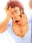 1boy :o beard blue_eyes brown_hair chest commentary_request facial_hair fate/grand_order fate_(series) hand_on_own_face hickey highres long_sleeves looking_at_viewer male_focus muscle napoleon_bonaparte_(fate/grand_order) pectorals scar simple_background solo suzuki80 toned toned_male