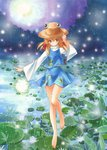 1girl :o acrylic_paint_(medium) bare_legs barefoot blonde_hair cloud cloudy_sky colored_pencil_(medium) fireflies flower frog_print full_moon hair_ribbon hand_on_headwear hat high_collar lily_pad long_sleeves looking_at_viewer marker_(medium) moon moriya_suwako outdoors rain reflection ribbon short_hair skirt skirt_set sky solo standing_on_one_leg tegaki_no_yuu touhou traditional_media yellow_eyes