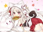 1girl :3 animal_ears animal_hood ass azur_lane bangs bare_shoulders blush breasts closed_mouth commentary_request creature detached_sleeves eyebrows_visible_through_hair fang fang_out food_in_mouth gradient gradient_background grey_hair highres hood hood_up hot_dog ju_(a793391187) long_hair long_sleeves medium_breasts mouth_hold pink_background pleated_skirt pom_pom_(clothes) purple_eyes red_eyes red_ribbon red_skirt ribbon short_eyebrows skirt slit_pupils solo tail tail_raised thick_eyebrows very_long_hair white_background white_sleeves wolf_ears wolf_girl wolf_hood wolf_tail yuudachi_(azur_lane)