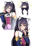 1girl :3 ;d absurdres animal_ear_fluff animal_ears bangs bare_shoulders bespectacled black_hair blue-framed_eyewear blue_sleeves blush bow cat_ears chibi closed_mouth detached_sleeves eyebrows_visible_through_hair fang flying_sweatdrops glasses green_eyes hair_between_eyes hair_bow hand_on_hip hand_up heart highres kyaru_(princess_connect) long_sleeves low_twintails moyoron multicolored_hair multiple_views one_eye_closed open_mouth parted_lips princess_connect! princess_connect!_re:dive purple_skirt red_bow shirt simple_background skirt sleeveless sleeveless_shirt smile sparkle streaked_hair thumbs_up twintails upper_body white_background white_hair white_shirt