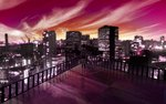 1girl artist_request building city city_lights cityscape cloud cloudy_sky highres original scenery skirt sky skyscraper solo source_request standing sunset wallpaper