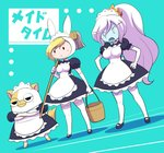 2girls adventure_time alternate_costume animal_ears animal_hood apron bangs black_dress black_footwear blonde_hair breasts bucket bunny_ears bunny_hood cake_(adventure_time) cat collared_dress crossed_arms d: dress elbow_gloves enmaided eyebrows eyebrows_visible_through_hair fangs fionna_the_human_girl frown genderswap genderswap_(ftm) gloves hair_between_eyes hands_on_hips high_ponytail holding holding_bucket hood ice_queen large_breasts legs_apart long_hair maid maid_apron maid_headdress mary_janes medium_breasts mop multiple_girls nollety open_mouth over_shoulder puffy_short_sleeves puffy_sleeves shoes short_sleeves solid_oval_eyes standing thighhighs white_apron white_gloves white_hair zettai_ryouiki