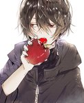 1boy apple brown_hair character_check coat commentary_request ensemble_stars! eyebrows_visible_through_hair fangs fingernails food fruit hair_between_eyes hand_up holding holding_fruit looking_away looking_to_the_side male_focus open_mouth poni_(rito) red_eyes sakuma_ritsu simple_background solo white_background