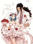 1boy 1girl black_hair blue_hair blush bouquet breasts bridal_veil choker cleavage collarbone couple dress english eye_contact fairy_tail flower formal gajeel_redfox hair_flower hair_ornament holding holding_bouquet holding_hands jacket levy_mcgarden long_hair looking_at_another medium_breasts nail_polish pants petals pink_nails ponytail red_flower red_rose rose rusky simple_background sleeveless sleeveless_dress smile standing strapless strapless_dress thigh_strap veil very_long_hair wedding_dress white_background white_dress white_jacket white_pants