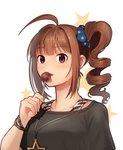 1girl ahoge blush bra_strap bracelet breasts brown_hair candy collarbone drill_hair eyebrows_visible_through_hair food idolmaster idolmaster_million_live! jewelry kamille_(vcx68) large_breasts lollipop looking_at_viewer necklace parted_lips purple_eyes short_hair side_drill solo star star_necklace upper_body yokoyama_nao