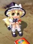 1girl animal_ears bad_id bad_pixiv_id blonde_hair bloomers book braid fox_ears fox_tail hat kemonomimi_mode kirisame_marisa mary_janes shoes short_hair solo tail touhou umekichi underwear witch_hat yellow_eyes younger