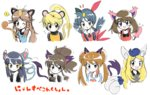 6+girls :d amulet_coin animal_ears black_eyes blonde_hair blue_(pokemon) blue_eyes blue_hair blush brown_hair cat_ears cat_tail earrings fang flying_sweatdrops forehead_jewel frown gen_1_pokemon gen_2_pokemon gen_3_pokemon gen_4_pokemon gen_5_pokemon gen_6_pokemon glameow jewelry kemonomimi_mode liepard long_hair meowstic meowth multiple_girls no_hat no_headwear odamaki_sapphire open_mouth persian pokemon pokemon_(creature) pokemon_special purrloin raglan_sleeves red_shirt shirt sidelocks simple_background skitty smile sneasel speech_bubble star star_earrings tail tank_top touko_(pokemon) twintails upper_body whi-two_(pokemon) white_background y_na_gaabena yatsuhashi_otogi yellow_(pokemon) yen_sign