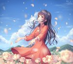 1girl :d black_hair blue_sky day dress field floating_hair flower flower_field la_campanella long_hair open_mouth orange_dress original outdoors outstretched_hand petals rose sky smile solo sundress very_long_hair white_flower white_neckwear white_rose yellow_eyes