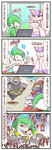 4koma bisharp blush comic dusknoir gallade highres mega_gallade mienshao pokemon punching sougetsu_(yosinoya35) translation_request