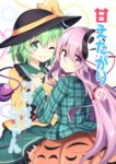 2girls ;) black_hat blush bow bubble_skirt collar commentary_request cover cover_page doujin_cover eyeball eyebrows_visible_through_hair frilled_collar frilled_skirt frilled_sleeves frills green_eyes green_hair green_skirt hair_between_eyes hat hat_bow hat_ribbon hata_no_kokoro holding_hands interlocked_fingers komeiji_koishi long_hair long_sleeves looking_at_viewer mask mask_on_head multiple_girls nogisaka_kushio noh_mask one_eye_closed pentagon_(shape) pink_eyes pink_hair plaid plaid_shirt ribbon shirt short_hair skirt smile third_eye touhou very_long_hair wavy_mouth wide_sleeves yellow_shirt