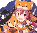 1girl :d >:d animal_hat bangs bat black_gloves bow chobota claw_pose commentary dog dog_hat fang fingerless_gloves fur_collar gloves halloween halloween_basket hat highres idolmaster idolmaster_shiny_colors komiya_kaho looking_at_viewer lower_teeth night open_mouth pumpkin red_eyes red_hair shiba_inu smile solo striped striped_bow twintails upper_body witch_hat
