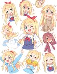 1girl :3 :d ;3 ;d =_= >_< alternate_hairstyle arms_up bare_shoulders blonde_hair blue_dress blue_shirt blue_skirt blush bow braid brown_hair brown_jacket brown_sweater cheerleader closed_eyes collared_shirt commentary_request cosplay dress dress_shirt green_eyes hair_bow hair_over_one_eye hair_ribbon hairband hand_up heart heart_in_mouth high_ponytail himesaka_noa holding hoshino_miyako_(wataten) hoshino_miyako_(wataten)_(cosplay) jacket long_hair long_sleeves multiple_views nose_blush off-shoulder_sweater off_shoulder one_eye_closed open_clothes open_jacket open_mouth outstretched_arms pom_poms ponytail red_bow red_hairband red_ribbon ribbon sailor_collar sailor_dress school_uniform shaded_face shirt simple_background skirt sleeveless sleeveless_dress sleeves_past_wrists smile strap_slip sweater track_jacket translated twintails very_long_hair watashi_ni_tenshi_ga_maiorita! white_background white_dress white_sailor_collar white_shirt wig xd yuuuuu