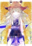 1girl anabone bangs blonde_hair bow commentary frog hat highres long_sleeves looking_at_viewer moriya_suwako ribbon simple_background skirt skirt_set smile solo touhou vest wide_sleeves yellow_eyes