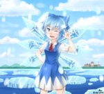 1girl ;d \m/ blouse blue_dress blue_eyes blue_hair bow cirno dress dress_shirt fang hair_bow highres ice ice_wings kirisame_marisa lake one_eye_closed open_mouth puffy_short_sleeves puffy_sleeves ribbon ruriko_amu scarlet_devil_mansion shirt short_hair short_sleeves smile solo touhou white_blouse white_shirt wings