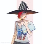 1girl blonde_hair blue_eyes bra_strap collar collarbone computer erica_june_lahaie gradient_hair hair_over_one_eye hat jersey laptop light multicolored_hair original pleated_skirt red_hair signature skirt solo strap_slip tattoo upper_body witch_hat