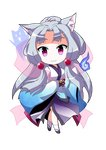 1girl :3 animal_ear_fluff animal_ears chibi commentary_request dairi eyebrows_visible_through_hair fox_ears grey_hair hitodama japanese_clothes kimono long_hair long_sleeves looking_at_viewer obi pink_eyes ponytail sandals sash sidelocks solo standing tachi-e touhoku_itako transparent_background voiceroid wide_sleeves