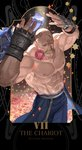 1boy abs ahoge alex_louis_armstrong bald blue_jacket blue_pants character_name closed_eyes closed_mouth commentary english_commentary eyelashes facial_hair flower fullmetal_alchemist gauntlets hands_up highres holy_pumpkin jacket jacket_removed male_focus mouth_hold muscle mustache pants petals pink_flower pink_rose rose shirtless solo sparkle spiked_knuckles standing tarot waist_cape