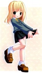 1girl black_skirt blonde_hair blue_eyes blush brown_footwear full_body harry_potter hermione_granger highres loafers long_sleeves looking_at_viewer outstretched_arms pleated_skirt pop shoes short_hair simple_background skirt socks solo white_background white_legwear