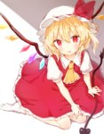 1girl :p arm_support background bent_knees blonde_hair collared_shirt commentary_request crystal flandre_scarlet hand_on_own_knee hat hat_ribbon honotai laevatein mob_cap puffy_short_sleeves puffy_sleeves red_eyes red_ribbon red_skirt ribbon shirt short_hair short_sleeves sitting skirt skirt_set solo tongue tongue_out touhou white_legwear white_shirt wings yellow_neckwear