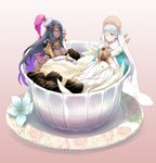 2girls anastasia_(fate/grand_order) armor cape circlet cup dark_skin doll fate/grand_order fate_(series) flower food hat husty_(husty.joestar.xp) ice_cream in_container in_cup long_hair multicolored_hair multiple_girls oversized_object royal_robe saucer scheherazade_(fate/grand_order) simple_background white_hair