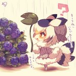 1girl :o ? animal bangs bird_tail black_hair blush brown_eyes chibi coat commentary_request eyebrows_visible_through_hair flower from_side fur-trimmed_coat fur-trimmed_sleeves fur_collar fur_trim grey_coat hair_between_eyes head_wings holding holding_leaf hydrangea kemono_friends leaf leaf_umbrella long_sleeves muuran no_shoes northern_white-faced_owl_(kemono_friends) open_mouth orange_hair outdoors pantyhose profile purple_flower rain signature snail solo translation_request white_hair white_legwear