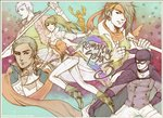 1girl axe bandana black_gloves breasts cape character_request commentary ellen_carson eyepatch gloves long_hair mask multiple_boys preyanan_suwanpramote robin_(romancing_saga_3) romancing_saga_3 saga sword weapon