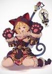 1girl 307_(aho307) :3 :d animal_hood belt birdcage black_dress blonde_hair blue_eyes boots cage cat cat_hood commentary_request dress fur_trim granblue_fantasy grey_background hands_up highres hood hood_up kuronekodoushi looking_at_viewer open_mouth paws pouch short_dress short_hair simple_background sitting smile solo staff wariza