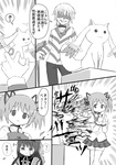 :3 accelerator akemi_homura blood comic crutch empty_eyes grin hairband highres jewelry kaname_madoka kosshii_(masa2243) kyubey long_hair mahou_shoujo_madoka_magica monochrome mutilation ring school_uniform skirt smile tears to_aru_majutsu_no_index translated twintails walpurgisnacht_(madoka_magica)