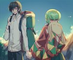 1boy 1girl backlighting backpack bag bangs black_hair black_legwear blue_sky blurry blurry_background blush c.c. cheese-kun closed_mouth cloud code_geass collared_shirt commentary_request covering_mouth cowboy_shot creayus day embarrassed green_hair holding_hands lelouch_lamperouge long_hair long_sleeves looking_at_another mountain outdoors purple_eyes shirt sky smile standing stuffed_toy tagme tree white_shirt yellow_eyes