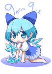 1girl arm_support bare_legs blue_dress blue_eyes blue_hair blush bow chibi cirno commentary_request dress hair_bow ice ice_flower ice_wings kawara_hajime looking_at_viewer puffy_short_sleeves puffy_sleeves short_hair short_sleeves simple_background solo touhou white_background wings