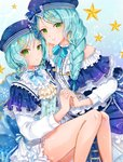 2girls alternate_hairstyle aqua_hair ascot back_bow bang_dream! bangs beret blue_bow blue_headwear blue_ribbon bow braid brooch center_frills constellation_hair_ornament constellation_print double-breasted dress earrings ferrel_(rocher_71) frilled_dress frilled_shirt frilled_sleeves frills green_eyes hair_bow hair_over_shoulder hat hat_bow highres hikawa_hina hikawa_sayo holding_hands incest jewelry korean_text light_frown long_sleeves looking_at_viewer multiple_girls neck_ribbon parted_lips ribbon shirt short_over_long_sleeves short_sleeves siblings side_braids single_braid sisters sitting star striped striped_bow striped_ribbon twincest twins yellow_neckwear yuri