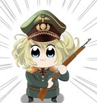1girl :3 bkub_(style) blonde_hair blue_eyes commentary_request gawasan-san gun hat iron_cross looking_at_viewer medal military military_hat military_uniform mondragon_rifle peaked_cap poptepipic rifle simple_background solo tanya_degurechaff uniform weapon white_background youjo_senki