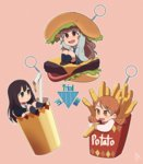 3girls artist_request bangs blunt_bangs brown_eyes brown_hair cardigan commentary_request drink drinking_straw eating fast_food food french_fries green_eyes hair_bun hamburger holding holding_food houjou_karen idolmaster idolmaster_cinderella_girls kamiya_nao ketchup keychain long_hair multiple_girls open_mouth shibuya_rin triad_primus