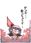 1girl :d arm_up bat_wings blouse blue_hair blush brooch chibi collar commentary_request fang fighting_stance frilled_blouse frilled_skirt frills full_body hat holding holding_weapon jewelry medium_hair mob_cap nekoguruma o_o open_mouth pink_skirt puffy_short_sleeves puffy_sleeves red_footwear remilia_scarlet shoes short_sleeves skirt skirt_set smile socks solo spear_the_gungnir standing touhou translated weapon wings