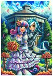 2girls artist_name blue_eyes blue_hair blush bonbon_(my_little_pony) bouquet breasts brown_eyes cleavage commission day dress elbow_gloves emperpep eyebrows_visible_through_hair flower gazebo gloves green_hair hair_flower hair_ornament holding holding_bouquet horn looking_at_viewer lyra_heartstrings medium_breasts medium_hair multicolored_hair multiple_girls my_little_pony my_little_pony_friendship_is_magic open_mouth outdoors pantyhose parted_lips personification pink_hair puffy_short_sleeves puffy_sleeves short_hair short_sleeves signature smile standing tail teeth wedding wedding_dress white_dress white_gloves white_hair white_legwear wife_and_wife yuri